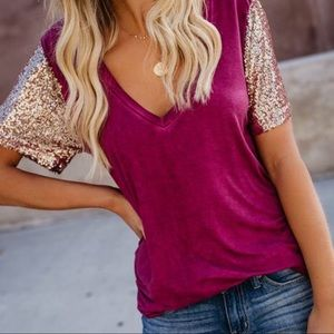 🆕 ➳ Star Of The Show Wine V-Neck T-Shirt